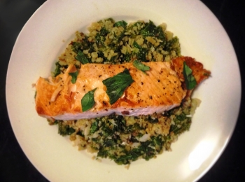 Kale, Basil, Mint and Cauliflower Scramble with Salmon