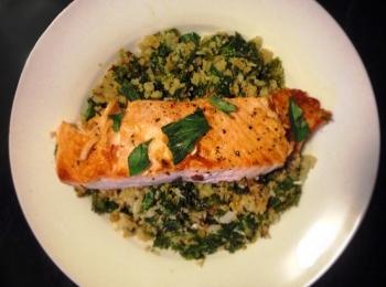 Kale, Basil, Mint and Cauliflower Scramble with Salmon