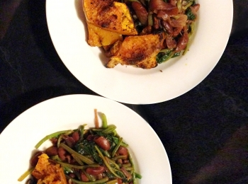 Roast Cinnamon Pumpkin with Beans and Spinach