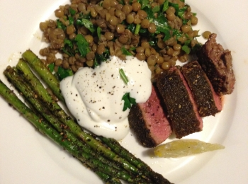 Lamb, asparagus and lentil salad
